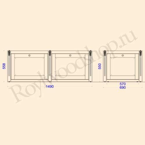 Экран для ванны откидной 150 см с торцевой дверкой. Схема