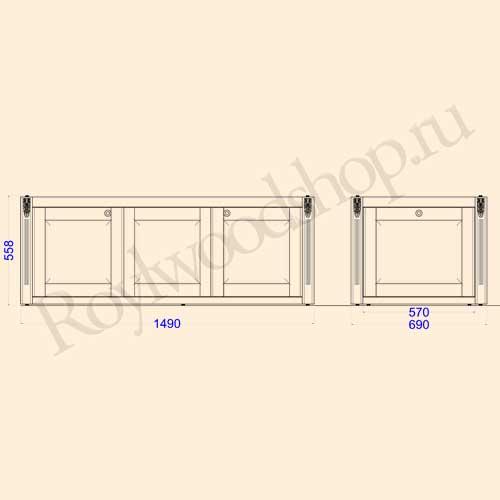 Экран для ванны раздвижной 150 см с торцевой дверкой. Схема