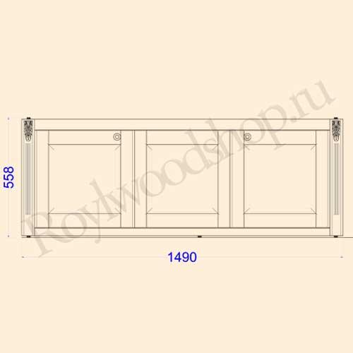Экран для ванны раздвижной 150 см без торцевой дверки. Схема