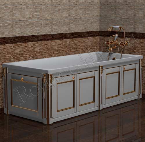 Экран для ванны белый с золотой патиной