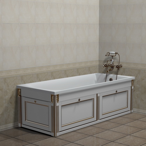 Экран для ванны 170 см белый с торцевым фасадом