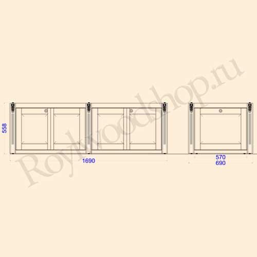 Экран для ванны складной 170 см с торцевой дверкой. Схема