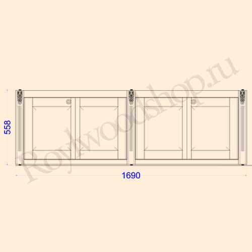 Экран для ванны складной 170 см без торцевой дверки. Схема