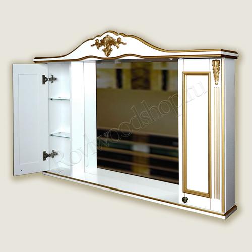 Белый зеркальный шкафчик