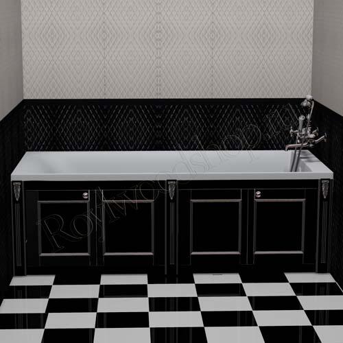 Экран для ванны черный