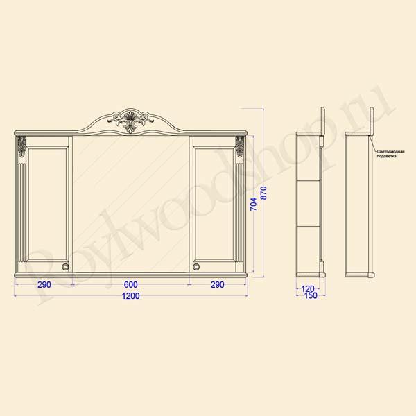 Схема зеркала-шкафа Глазго