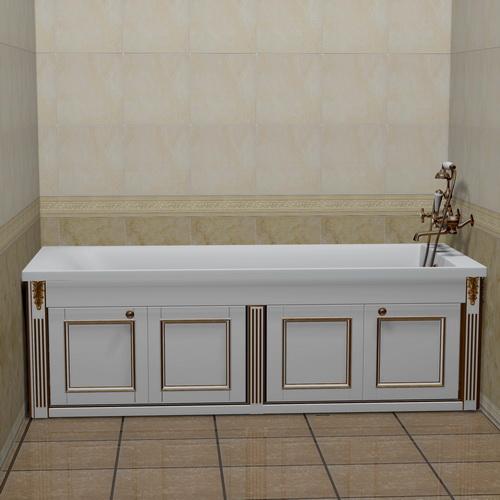 Экран для ванны белый с золотом 1,5 м
