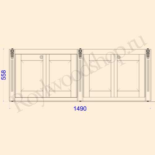 Экран для ванны складной 150 см без торцевой дверки. Схема