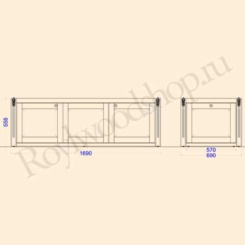 Экран для ванны раздвижной 170 см с торцевой дверкой. Схема