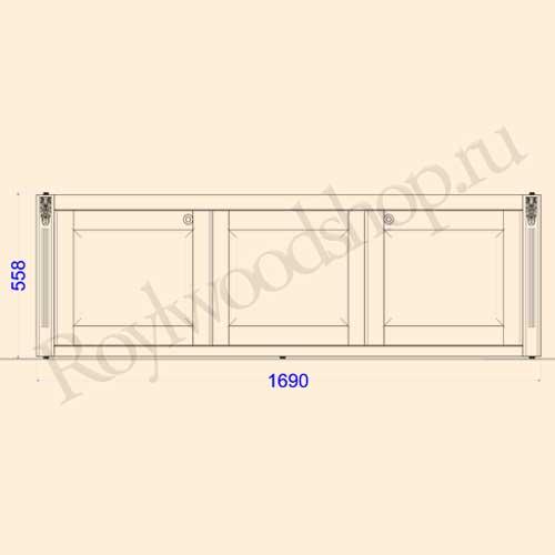 Экран для ванны раздвижной 170 см без торцевой дверки. Схема