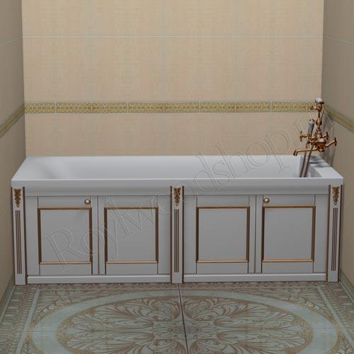 Экран для ванны белый с золотом