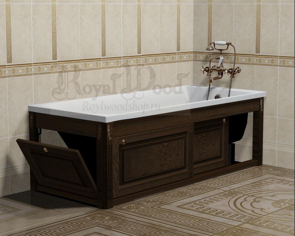 Экран для ванны с раздвижными дверцами орех купить в Roylwoodshop.ru