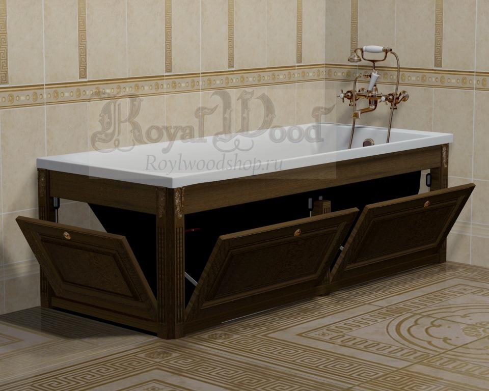 Откидной экран под ванну темный орех купить по ценам фабрики Roylwoodshop.ru