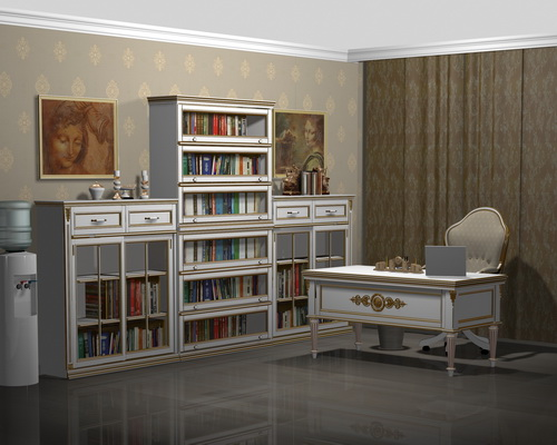 Стеллажи для книг со стеклянными дверками белые с золотом