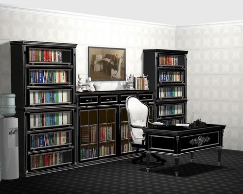 Домашний кабинет черный с серебряной патиной