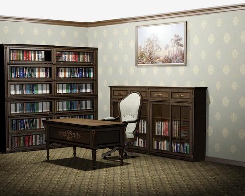 Мебель из массива березы для домашнего кабинета классика