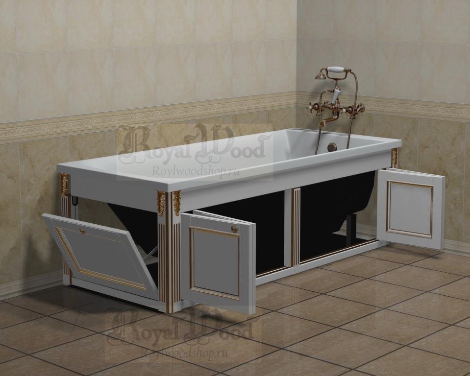 Складной экран в ванну белый прованс купить по ценам производителя в Roylwoodshop.ru